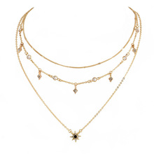 Europe and The United States New Womens Multi-layer Stars Pendant Necklace Chain Fashion Earrings Necklaces for Women