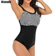 Riseado Gestreepte Een Stuk Badpak Vrouwen Badmode Patchwork Zwemmen Pak Gestreepte Badpak Cross Bandage Beachwear Plus Size
