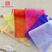 10 * 15cm organza transparent bag wedding holiday gift jewelry drawstring bundle pocket wholesale 100pcs