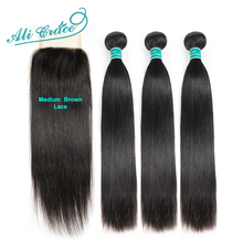 Hair Brazilian Closure Ali-Grace Straight with 4--4 Middle 100%Remy Free-Part 2-Option
