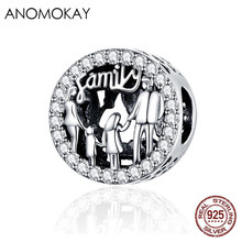 Anomokay Classic Family of Four Round Silver Bead 925 Sterling Silver Families Charm for Bracelet Bangle DIY Jewelry Accessories