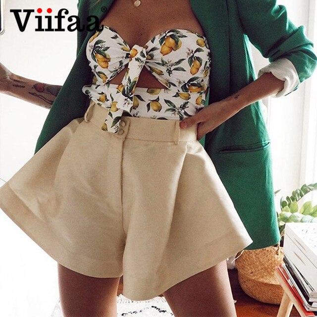 Viifaa Apricot High Waist Pleated Wide Leg Flared Shorts Women Fashion Summer Spring 2020 Ladies Sexy Mini Shorts 1