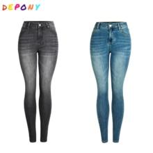 Skinny Jeans DEPONY High-Waist Pencil-Pants Elastic Vintage Plus-Size Women 96%Cotton