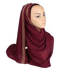 버블 쉬폰 hijab 스카프 다이아몬드 반짝이 shawls 비즈 이슬람 hijabs 스카프 headscarf 진주 머리띠 스카프 10 개/몫
