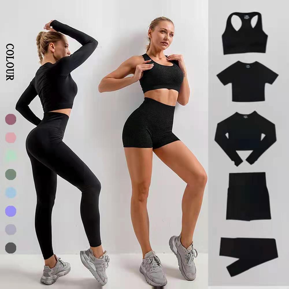 Бесшовный комплект для йоги, одежда для спортзала, одежда для тренировок для женщин, комплект для тренажерного зала, спортивная одежда с выс...