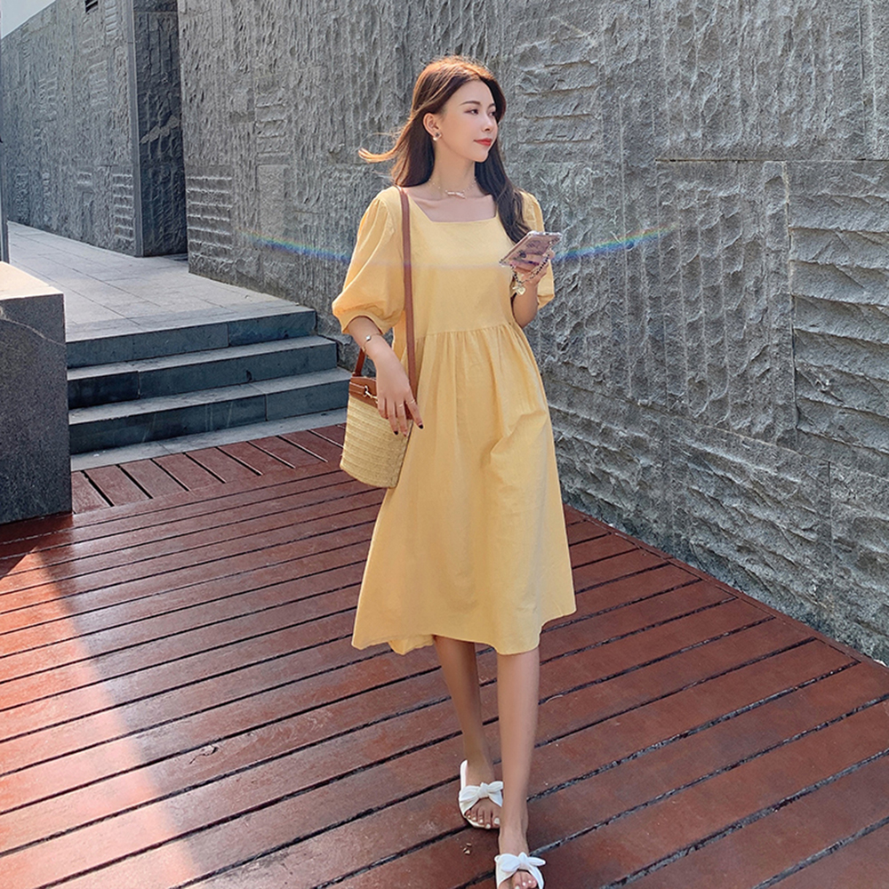 Puff Sleeve Cotton Linen Midi Casual Women's Dresses Loose Korean Fashion Summer Dress 2021 Ladies Plus Size Beach Robe Vintage