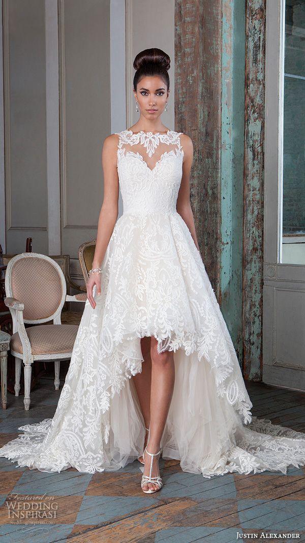 Свадебное платье с вырезом лодочкой и высоким низом, кружевное короткое свадебное платье 2016, свадебное платье размера плюс, Vestido de Novia