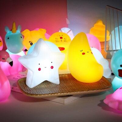 2021 Cute Unicorn Cloud Star Moon Appease Glow Night Light Feeding Light Baby Sleeping Child for Kids Toys Lamp Christmas Gifts