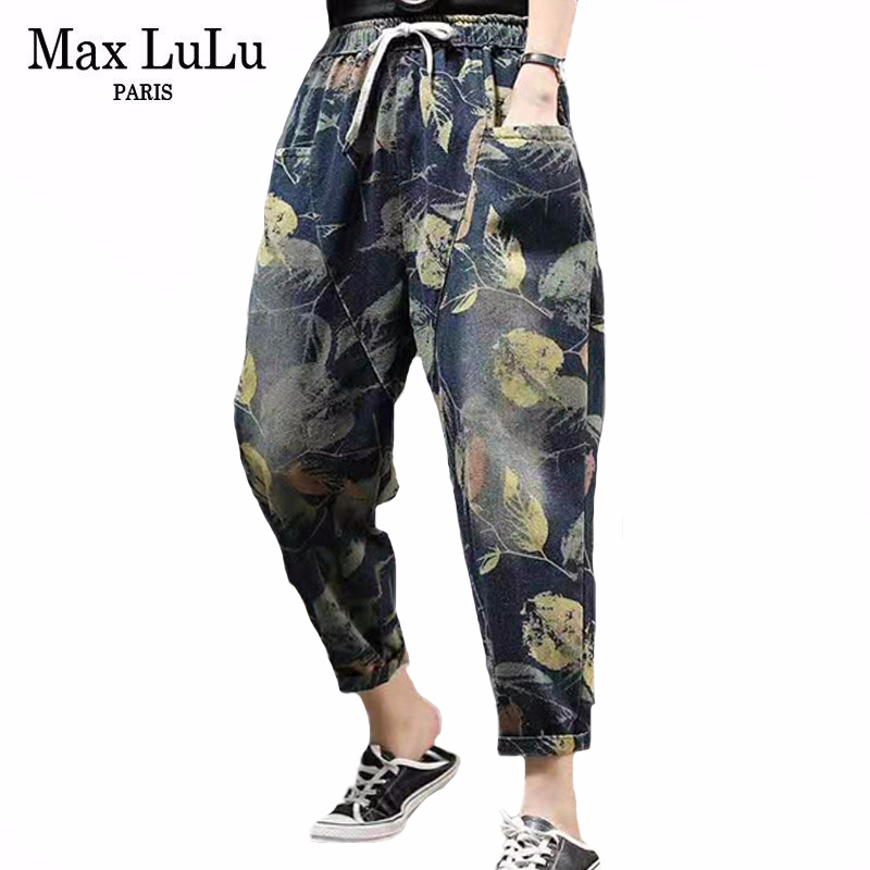 Max LuLu 2020 New Summer Chinese Fashion Ladies Vintage Denim Trousers Womens Floral Printed Loose Jeans Elastic Pants Plus Size