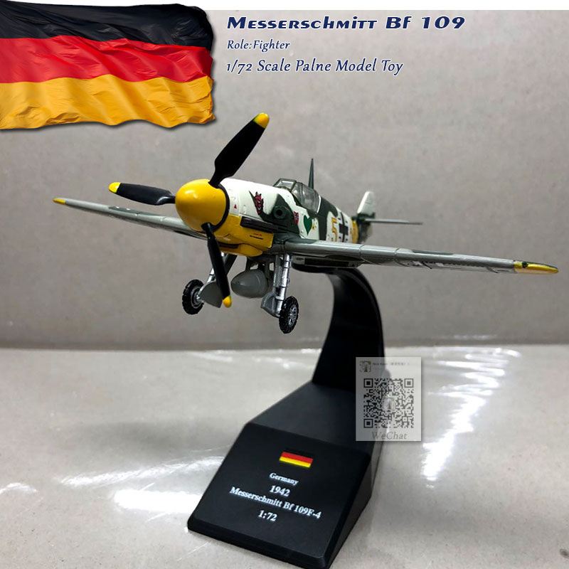 WLTK 1/72 Scale Military Model Toys German Bf-109 Fighter Diecast Metal Plane Model Toy For Collection,Gift,Kids
