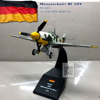 WLTK 1/72 Scale Military Model Toys German Bf-109 Fighter Diecast Metal Plane Toy For Collection,Gift,Kids