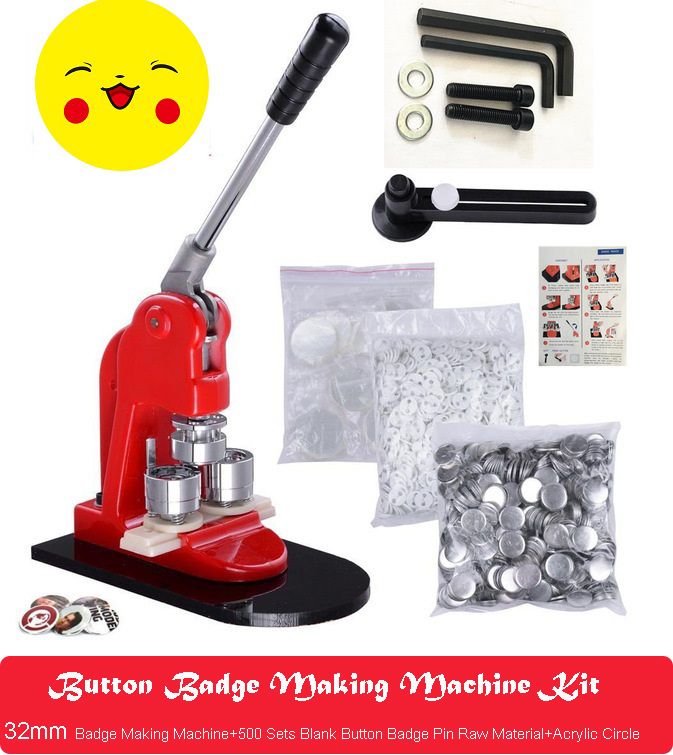 Button Badge Making Machine Maker +32mm Button Badge Mould+32mm Button Badge Pin Raw Material 500PCS+ 1pcs Acrylic Circle Cutter