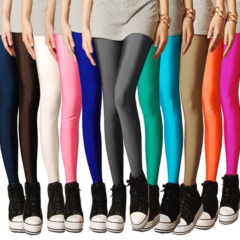 New Women Sexy Push Up Slim Leggings Hot Shine Solid Color Neon Leggings Skinny High Stretched Leggings For Female Leggins