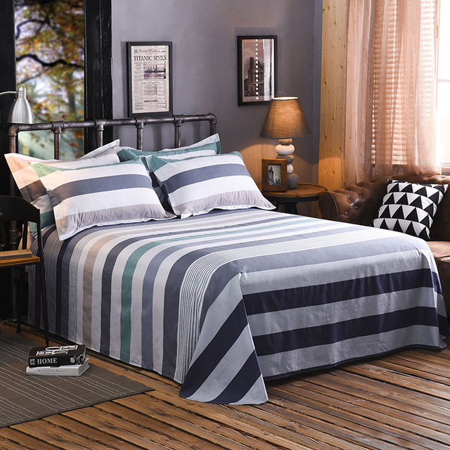 1 Piece 100% Cotton Colorful Plaids Flat Sheet For Children Adults Single Double Bed Flat Bedsheets (No Pillowcase) XF631-4