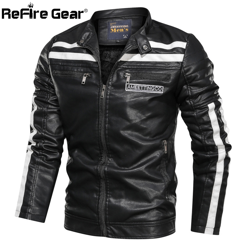 ReFire Gear Motorcycle PU Leather Jackets Men Autumn Warm Vintage Bomber Military Tactical Jacket Casual Fashion Winter Clothes