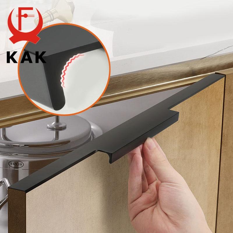 KAK Black Hidden Cabinet Handle Aluminum Alloy Kitchen Cupboard Door Pulls Drawer Knobs Long Handle Furniture Handle Hardware