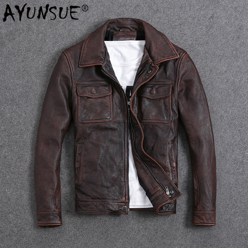 AYUNSUE Vintage Genuine Cow Leather Jacket Men Plus Size Cowhide Leather Coat Slim Short Jacket Veste Cuir Homme L-Z-14 YY1366
