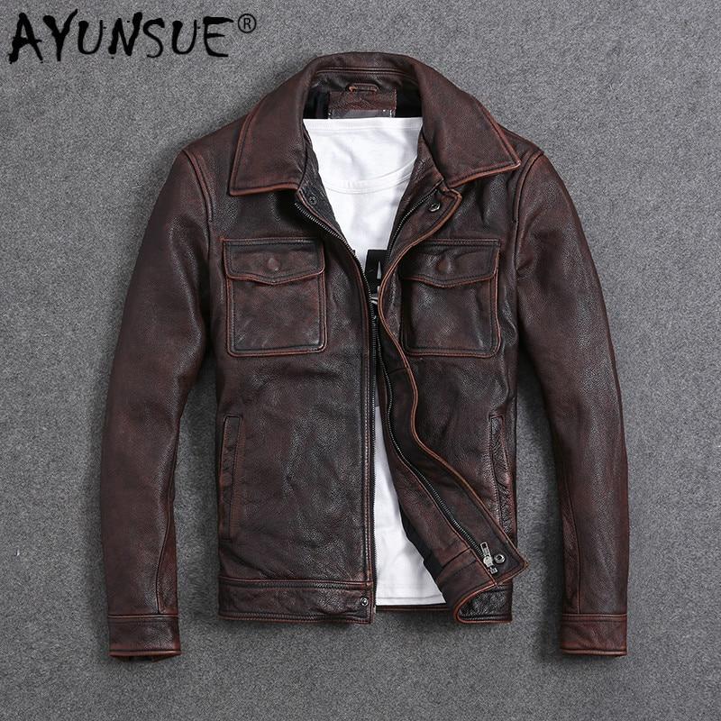 AYUNSUE Vintage Genuine Cow Leather Jacket Men Plus Size Cowhide Leather Coat Slim Short Jacket Veste Cuir Homme L-Z-14 YY1366
