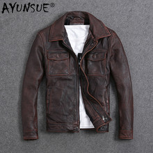 AYUNSUE Vintage Genuine Cow Leather Jacket Men Plus Size Cowhide Leather Coat Sl