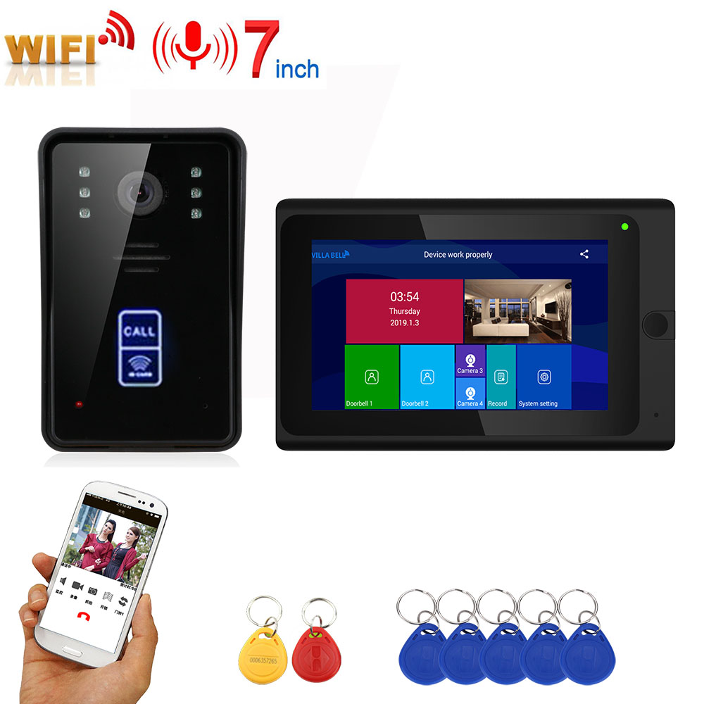 7inch Wired Wifi RFID Video Door Phone Doorbell Intercom Entry System with Wired IR-CUT 1080P Wired IR Camera Support APP Unlock