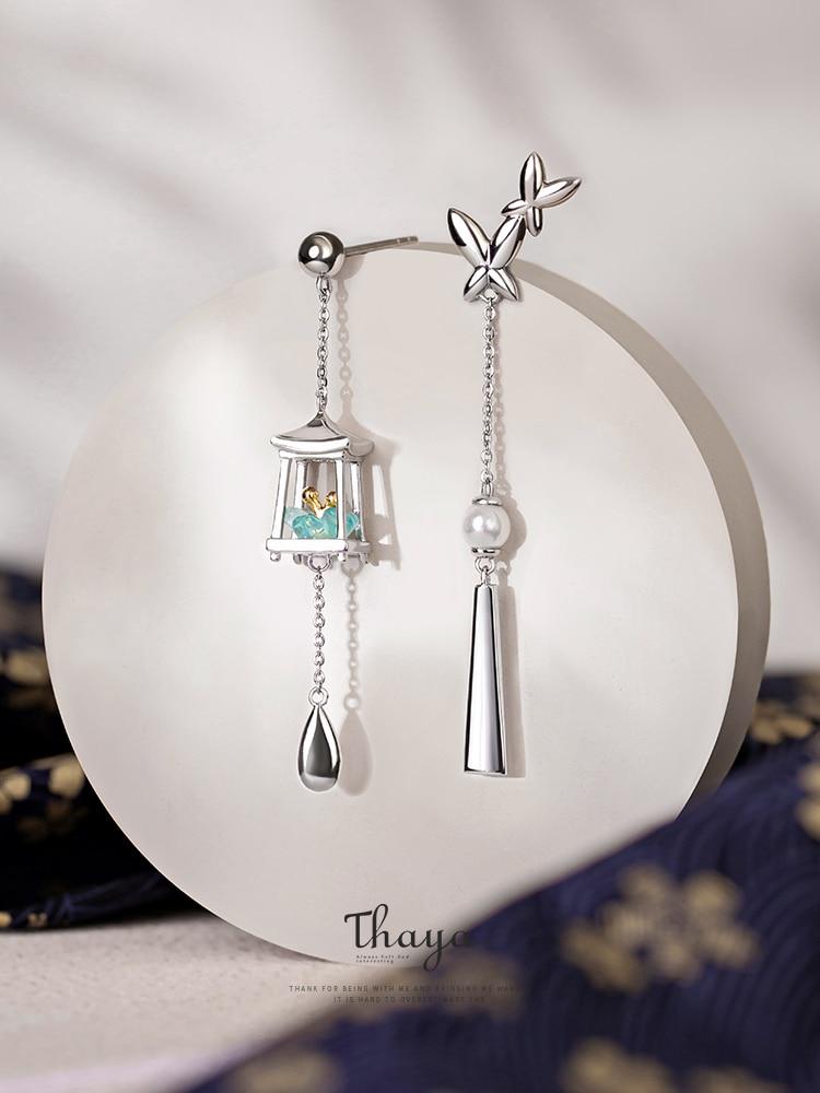 Thaya Green Lantern Earrings Eardrop Tassels Fine-Jewelry Dangle 925-Sterling-Silver