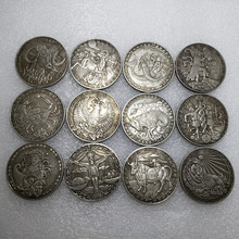 Twelve Constellations medallions coins Antique Embossed Cacer Coin Love Mermaid Sun God Home Decoration 12 collection