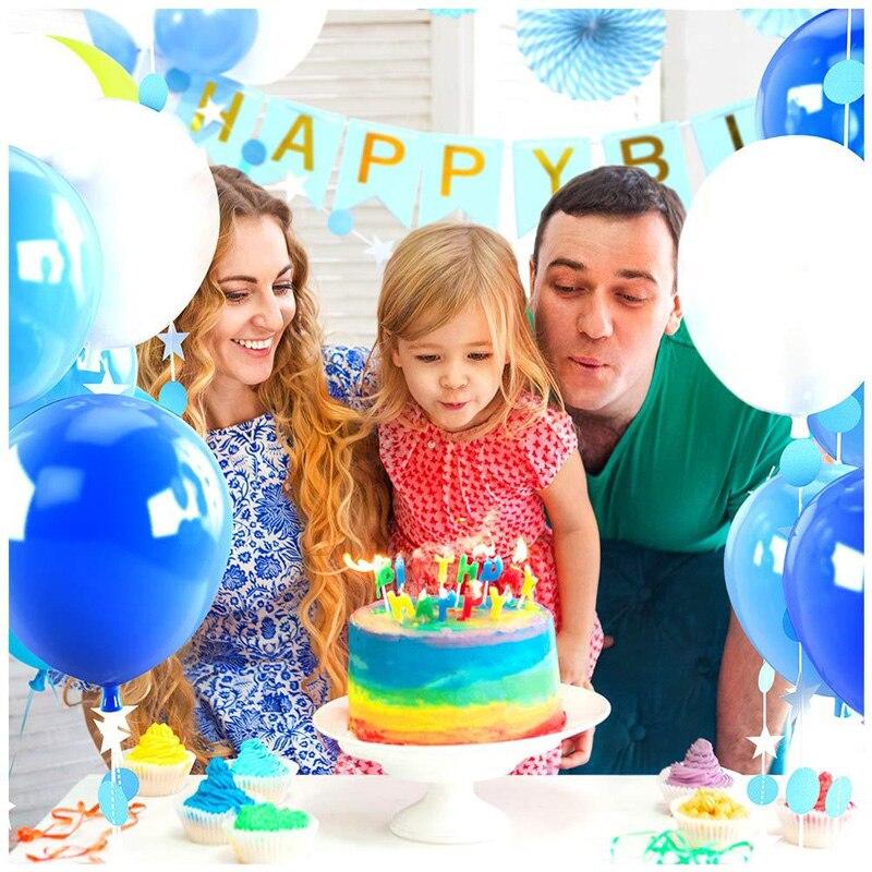 Baby Shower Birthday Party Balloons Blue White Decorations Banner Tissue Paper Fans Flower Star Circle Streamer Celebration Set