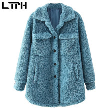 Coat Women Jacket Faux-Fur LTPH Elegant Winter Outwear Lambswool-Pockets Thicken Long