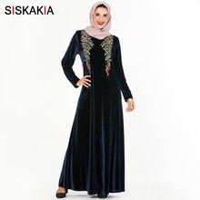 Siskakia Elegant Muslim Long Dress Brief Velvet Floral Embro