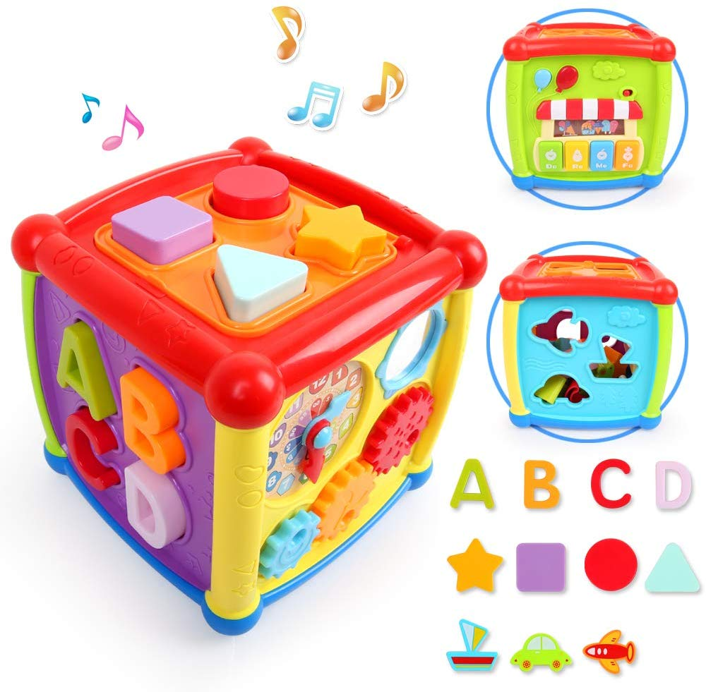 Baby Activity Cube Center Early Learning Educational Music Toys For Toddlers Flashing Shape Sorter For Babies Kids