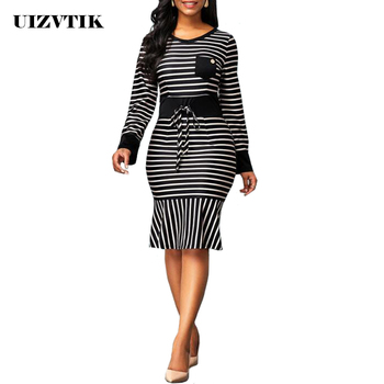 Striped Dress Women Autumn Summer 2020 Casual Plus Size Slim Office Bodycon Dresses Elegant Sexy Long Mermaid Party Dress Black 2019 plus size party dresses women summer long maxi dress casual slim elegant dress bodycon female beach dresses for women 3xl