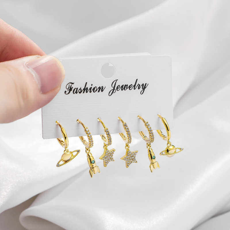 Fashion Cubic Zirocnia Star And Rocket And Planet Set Hoop Earrings Silver...