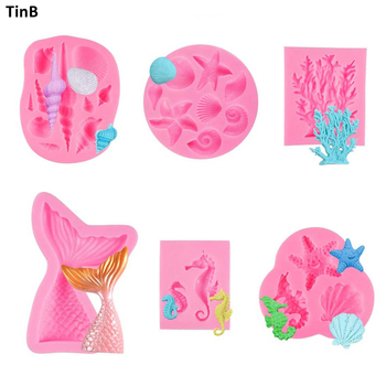 6pcs 3D Mermaid Tail Silicone Molds Shell Starfish Soap Mold Cake Decoration Tools Sugar Craft Moulds DIY Craft Fondant Molds