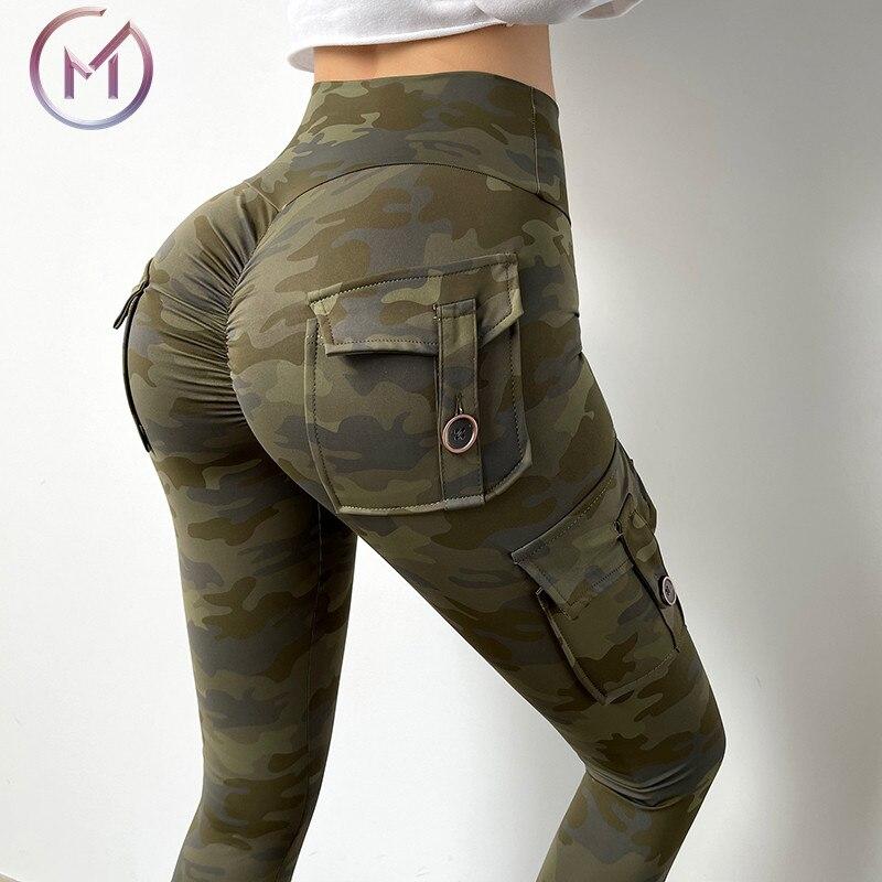 Camouflage Yoga Pants Women Fitness Leggings Workout Sports With Pocket Sexy Push Up Gym Wear Elastic Slim Pants MITAOGIRL|Yoga Pants| - AliExpress