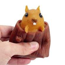 Kawaii écureuil jouets presser décompression drôle arbre souche dessin animé Animal Fidget jouets Pop It intéressant adulte enfants jouets cadeau