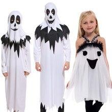 Halloween pourim carnaval effrayant Costumes enfants enfants blanc fantôme Costume Cosplay Robe pour garçons filles habiller