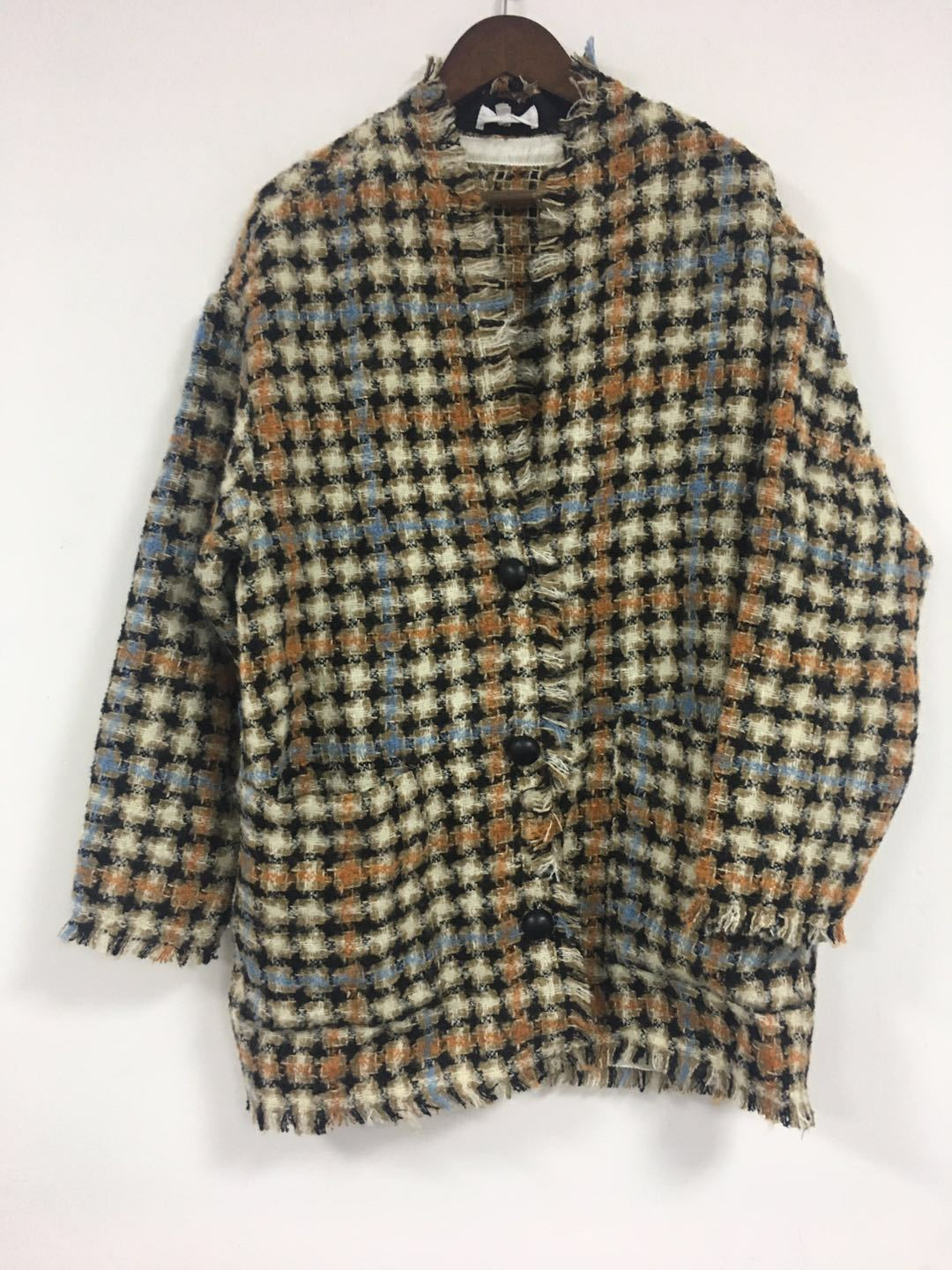 Image 2 - Women Sweater2019 Autumn and Winter Small Fragrance Wind Tweed Wool Blend Retro Check Coat CardiganPullovers