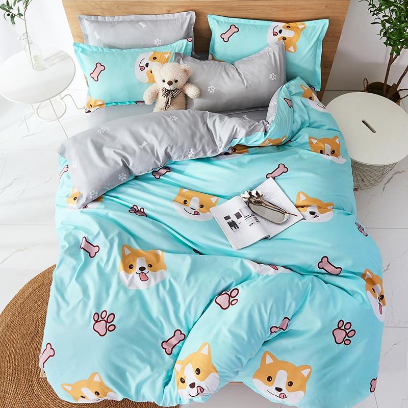 Cartoon Shiba Inu Bedding Set Boys Bedclothes Teens Soft Comfortable Bed Linens Set Twin Duvet Cover Set for Home Textile|Bedding Sets| |  - title=