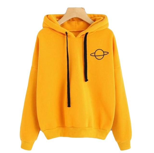Women Hoodies Casual Kpop Planet Print Solid Loose Drawstring Sweatshirt Long Sleeve Hooded Autumn Female Pullover#W3 1