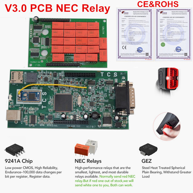 A + Qualità OBDIICAT TCS Pro Rosso V3.0 RELÈ Nec 2016.1 Keygen/2017.1 OBD2 BT AUTO/CAMION OBD2 strumento diagnostico Coder Reader Come MVD OBDIICAT Store