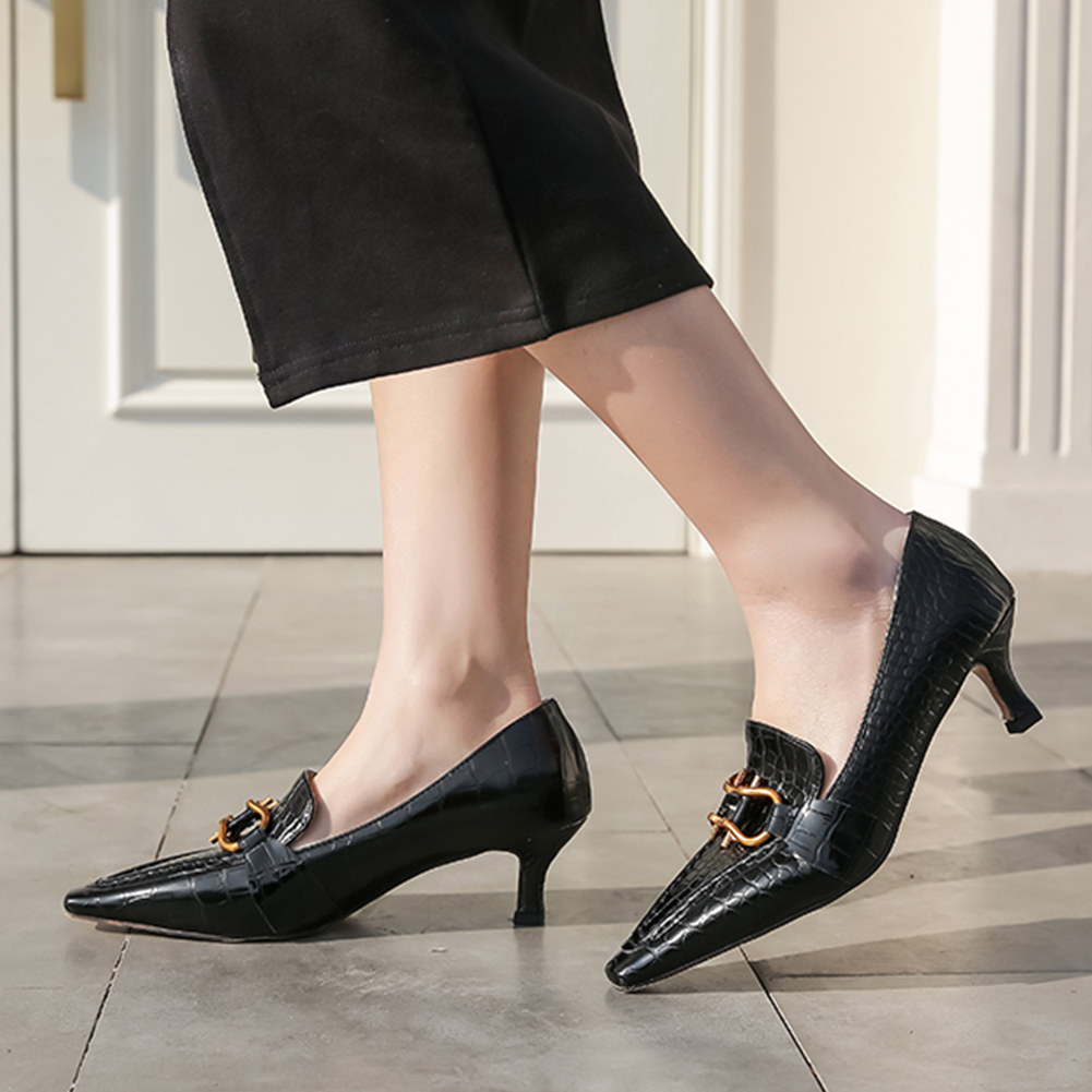 Sarairis New Arrivals 2020 Thin Heels Elegant Pumps Woman Shoes Pointed Toe Slip-On Metal Decoration Office Lady Shoes Women