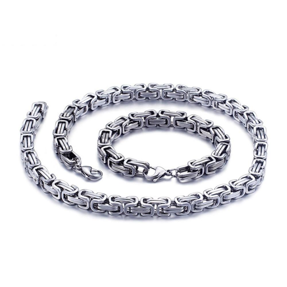 "8//12//15mm Heavy Men/'s Chain Stainless Steel Byzantine Necklace Bracelet 7/""-40/"""