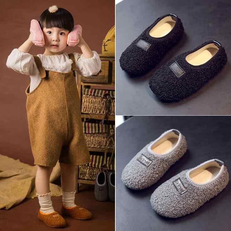 YWPENGCAI basit tarzı çocuk kürk ayakkabı bebek yürümeye başlayan sıcak peluş ayakkabı Boys loafer'lar kızlar Moccasins çocuklar kış ayakkabı #21 -30