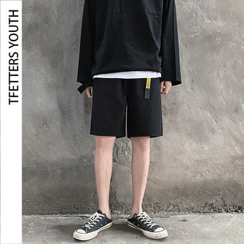 TFETTERS New Arrival Summer Fashion Short Pants Men Casual Fashion Straight Loose Knee-Length Pant Cotton Sport Pants Boy