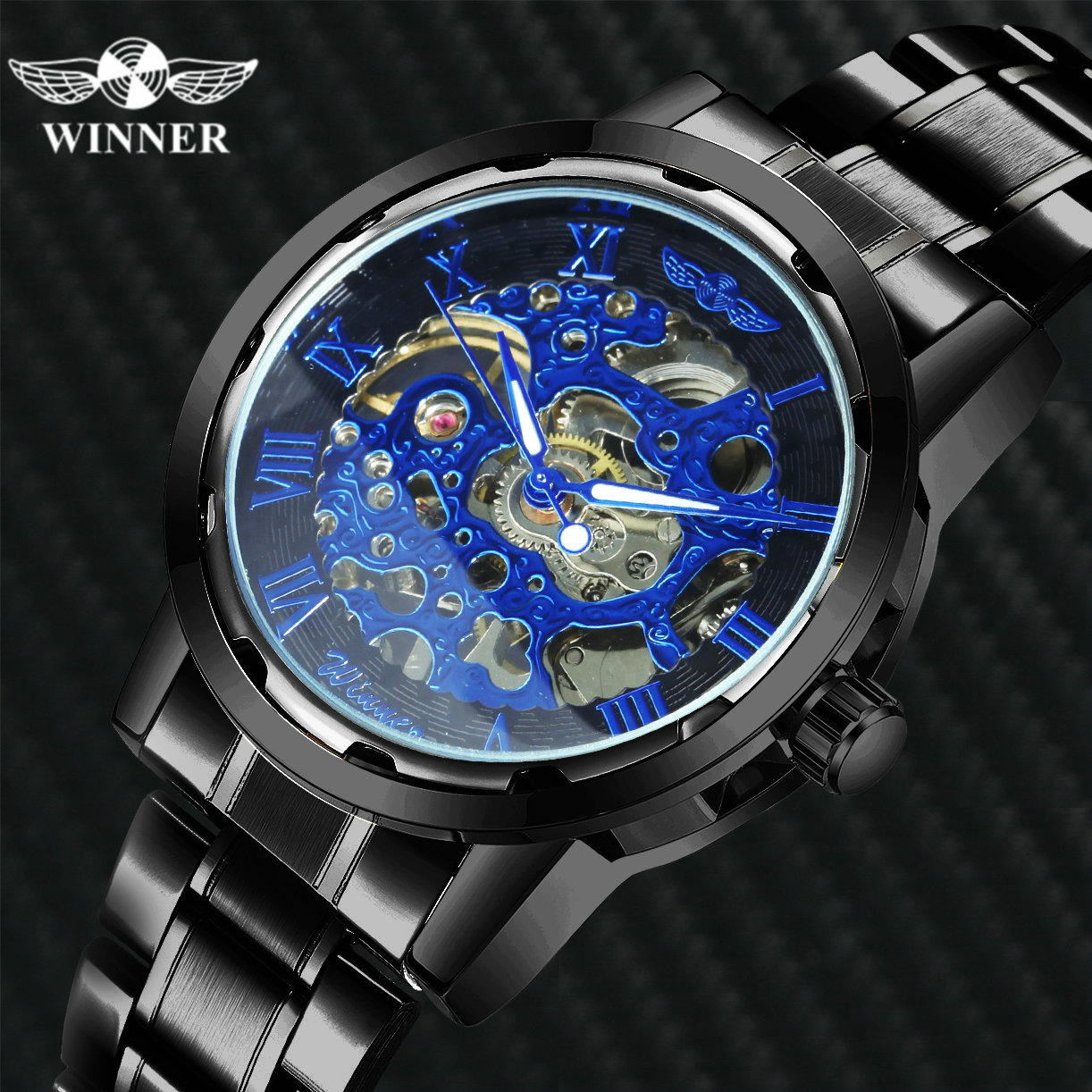 WINNER Mechanical Watch For Men Fashion Skeleton Watches Stainless Steel Strap Luminous Hands Male Wristwatch Dress Reloj Hombre