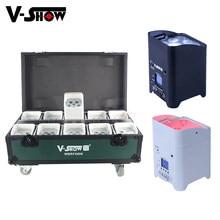 10pcs With Case Battery Operated Wedding Uplight 6x18w RGBWAUV Led Wireless DMX Wifi Remote Control Dj Par Sound Party Lights