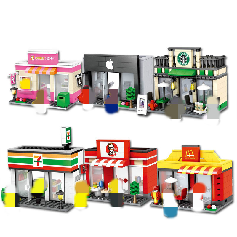City Mini Street Retail Store Miniature Building Block Cafe McDonald Model Dickens Ville Shop Compatible Legoinglys Tiendas Toy