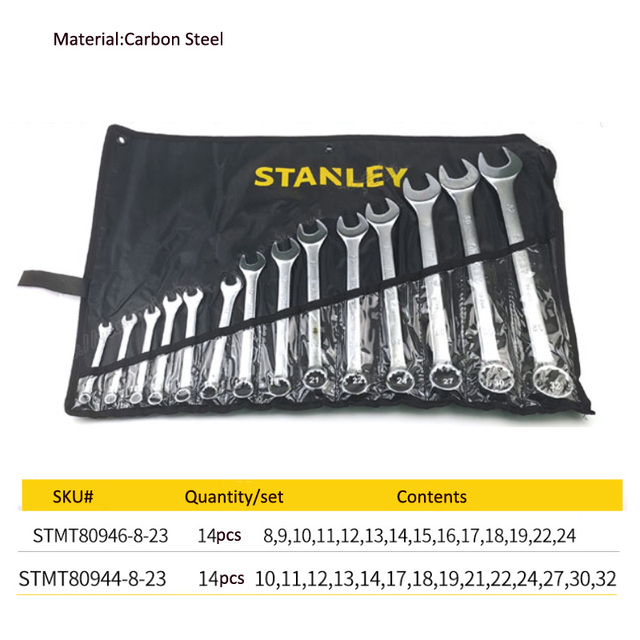 Stanley basic metric wrench spanner tool set car wrench tools kit combination auto tool for garage/home automotive repair 6
