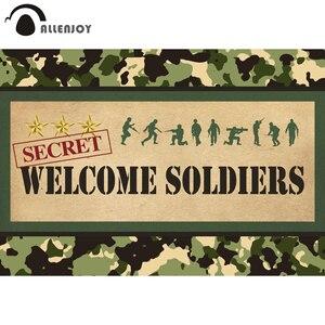 Image 1 - Allenjoy bienvenue soldats photographie toile de fond anniversaire camouflage militaire poupée avion réservoir arrière plan photophone photocall