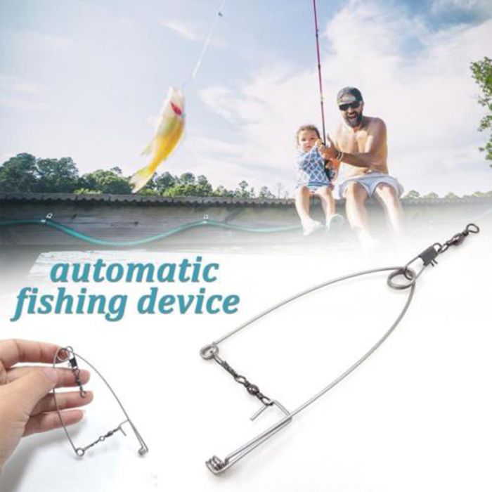 Newly 5Pcs Stainless Steel Hook Trigger Spring Fishing Hook Setter Bait Bite Triggers the Hook Catch Fish Automatically Peche